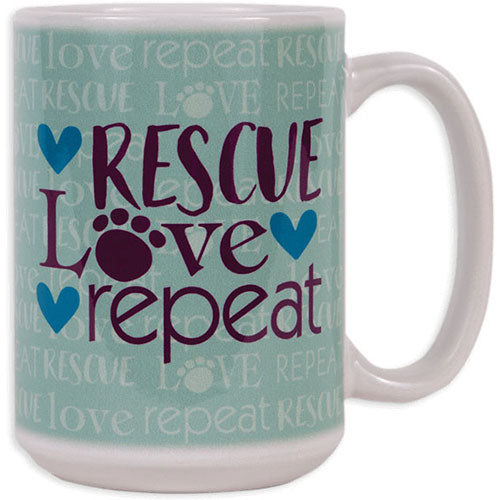 Dog Speak 15OZ Big Mug - Rescue Love Repeat | Singpet.Com