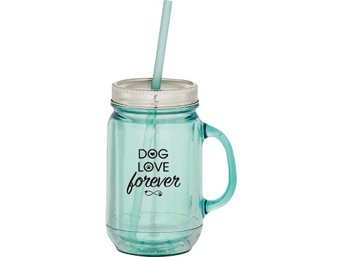 Dog Speak 20OZ Mason Jar Mug Dog Love Forever | Singpet.COM