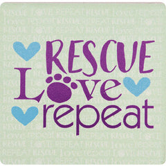Dog Speak Absorbent Stone Coaster - Rescue Love Repeat | Singpet.Com