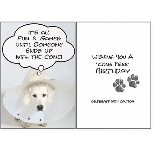 Dog Speak Birthday Card - Cone Free Birthday | Singpet.Com