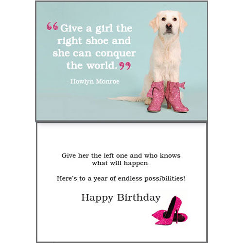 Dog Speak Birthday Card - The Right Shoe | Singpet.Com
