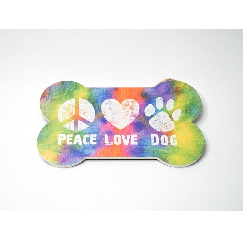 Dog Speak Bone Shape Sign - Peace Love Dog | Singpet.Com.Sg