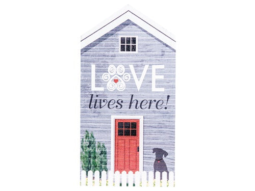 Dog Speak Extra Large Rustic House Sign Love Lives Here | Singpet.COM