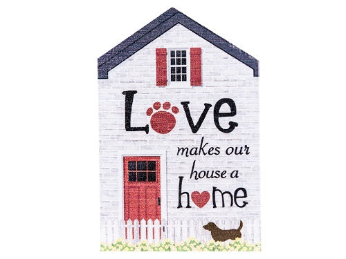 Dog Speak Large Rustic House Sign Love Makes Our House A Home | Singpet.COM