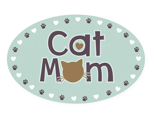 Dog Speak Oval Shaped Magnet Cat Mom | Singpet.COM