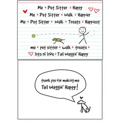 Dog Speak Pet Sitter Card - Me + Pet Sitter = Happy | Singpet.Com