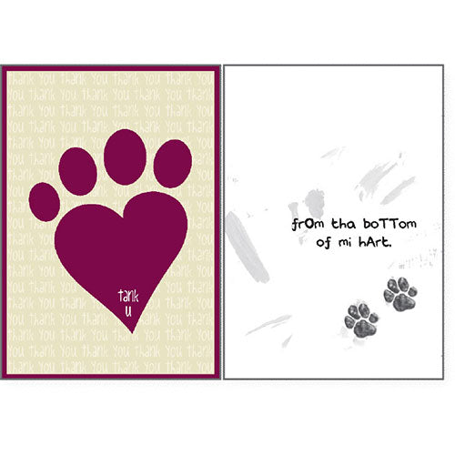 Dog Speak Thank You Card - Bottom Of My Heart | Singpet.Com