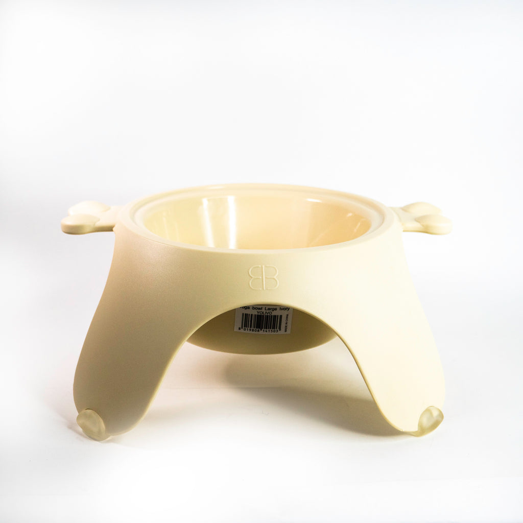 Petego Yoga Food & Water Bowl For Dogs & Cats, (Ivory)
