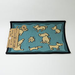 PB Paws & Co. Tapestry Pet Mats, Dog Group Pattern (Aquamarine)