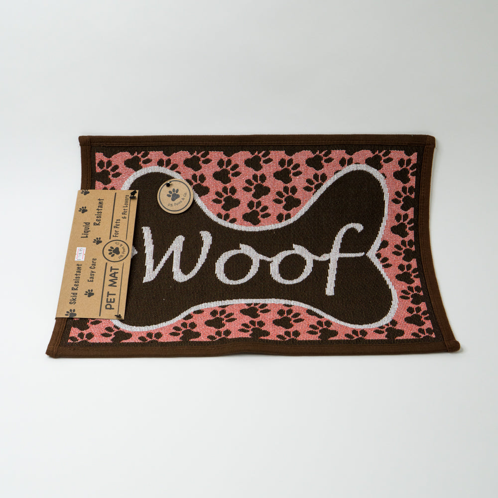 PB Paws & Co. Tapestry Pet Mats, Woof Pattern (Sorbet)