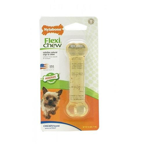 Nylabone Flexi Chew Chicken Flavored Bone - Dog Toy (Petite) | Singpet.Com