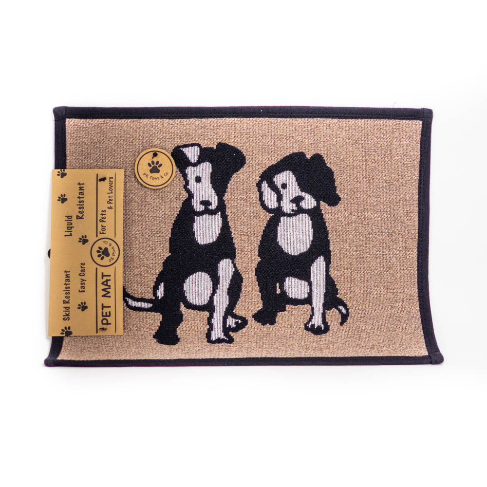 PB Paws & Co. Tapestry Pet Mats, Two Friends Taupe Pattern | Singpet.Com