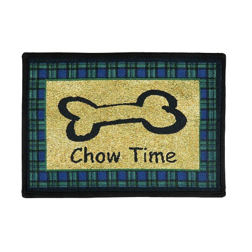 PB Paws & Co. Tapestry Pet Mats, Chow Time Pattern (Sand) | Singpet.Com