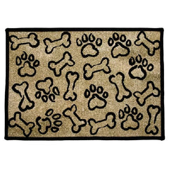 PB Paws & Co. Tapestry Pet Mats, Puppy Paws Gold Pattern