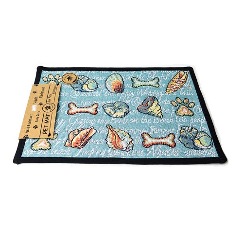 PB Paws & Co. Tapestry Pet Mats, Seashore Dogs Pattern (Aegean Blue)