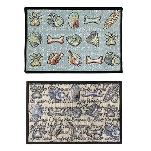 PB Paws & Co. Tapestry Pet Mats, Seashore Dogs Pattern