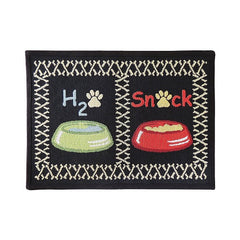 PB Paws & Co. Tapestry Pet Mats, Snack Time Pattern (Multi)