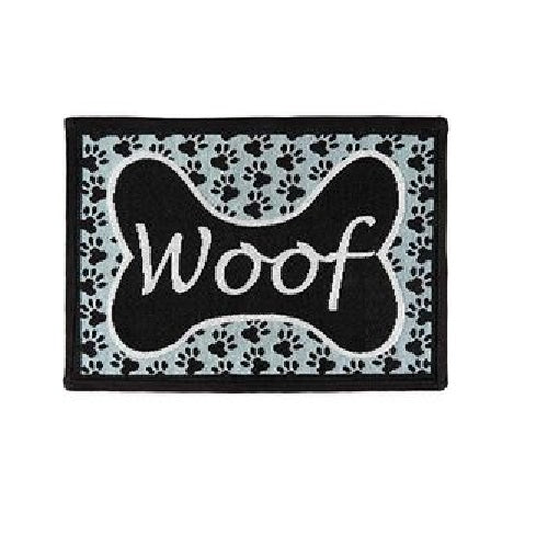 PB Paws & Co. Tapestry Pet Mats, Woof Pattern (Aquamarine)