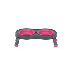 Popware Collapsible Double Elevated Pet Feeder (Pink) | Singpet.Com