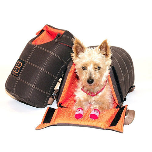 Petego Velvet Lenis Pack - Front/Back Pack ( Brown/Orange) For Small Dogs, Cats & Other Small Animal | Singpet.COM