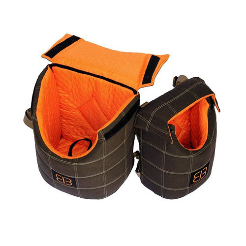 Petego Velvet Lenis Pack - Front/Back Pack ( Brown/Orange) For Small Dogs, Cats & Other Small Animal