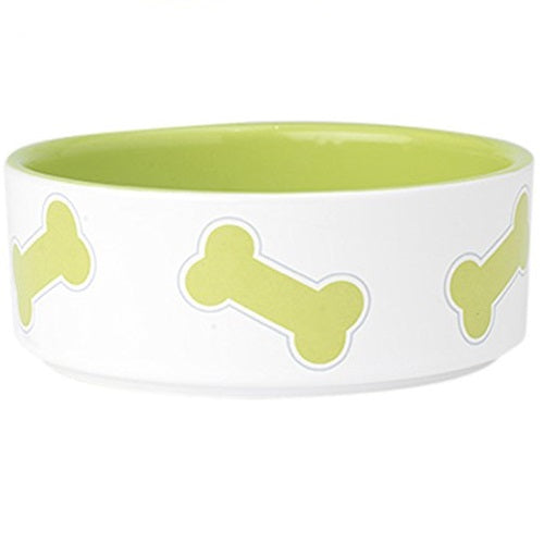 "Petrageous Kool Bones 6"" Pet Bowl 3.5 Cups, Lime/White 