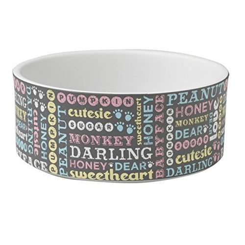 Petrageous Designs Pet Names 6-inch Bowl, Dark Gray Multi 3.5 cups | Singpet.Com
