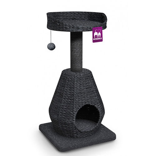 Petrebels Cat tree Natural Eco Lovers Caribbean Beach 89 Waterhyacinth - Dark Brown & Cream | Singpet.Com
