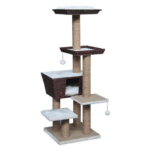 Petrebels Cat tree Natural Eco Lovers Caribbean Love 141 Waterhyacinth - Dark Brown & Cream | Singpet.Com