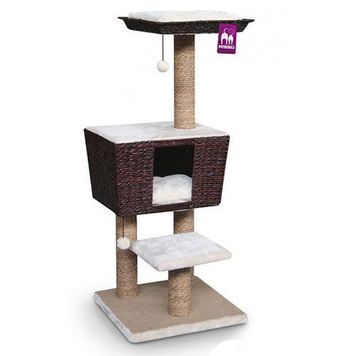 Petrebels Cat tree Natural Eco Lovers Caribbean Sun 114 Paperrope - Grey | Singpet.Com