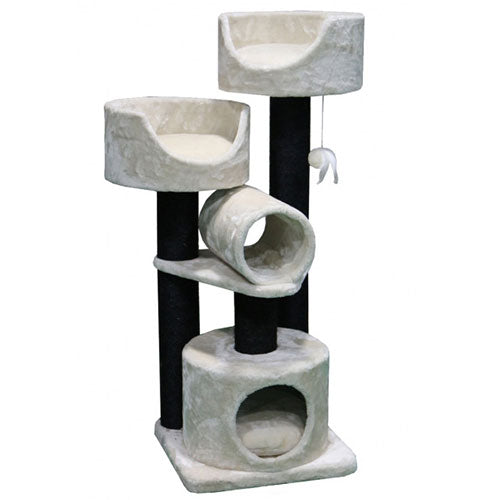 Petrebels Cat tree Sweet Petite Cabin 125 - Fuzzy Cream | Singpet.Com