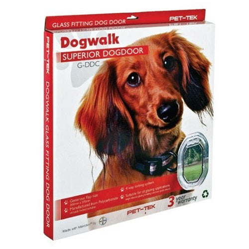 Pet-Tek Dogwalk Glass Fitting Dog Door G-DDC For Small & Medium to Semi-Large Dogs