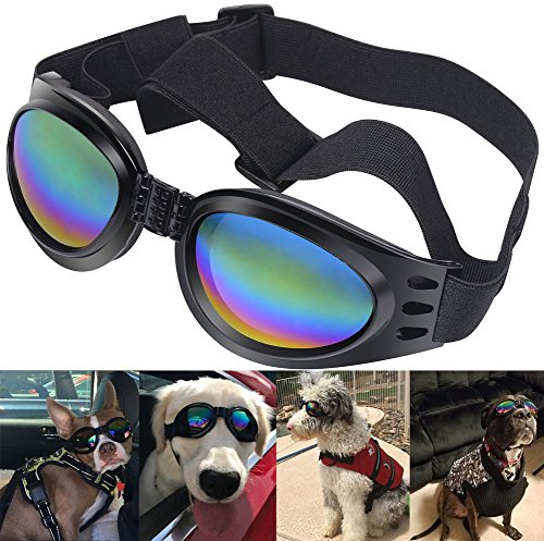 Qumy Dog Sunglasses Eye Wear Protection Waterproof Goggles for Dogs