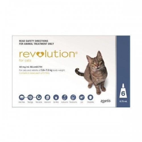 Revolution Flea & Heartworm Spot-on For Cats 2.6-7.5 kg (5.7-15.5 lbs), 6 Pack | Singpet.Com.Sg