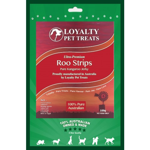 Loyalty Pet Roo Strips Pure Kangaroo Jerky Dog & Cats Treats