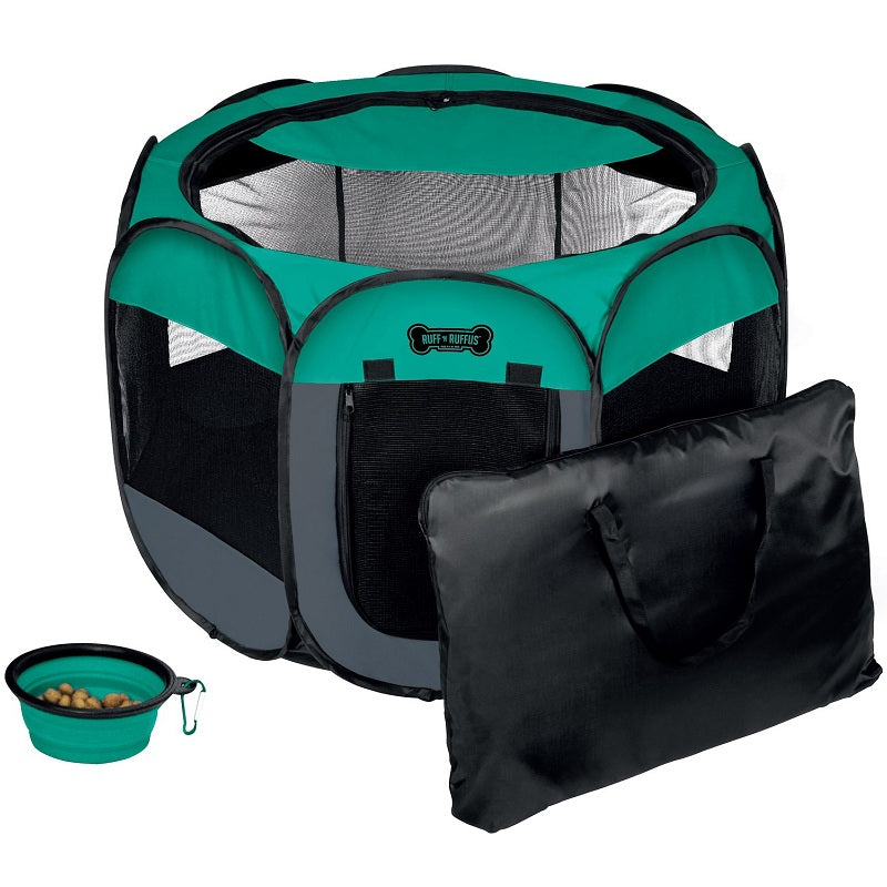 Ruff 'n Ruffus Portable Foldable Play Pen with Collapsible Travel Bowl & Carrying Case