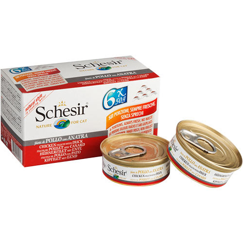 Schesir Chicken Fillets With Duck Canned Cat Food - 6 Pack | Singpet.COM