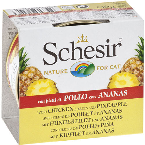 Schesir Chicken Fillets and Pineapple Recipe Canned Cat Food | Singpet.Com
