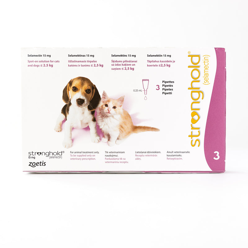 Stronghold 15 mg spot-on solution for cats and dogs < 2.5 kg, 3 Pack | Singpet.Com.Sg
