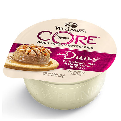 Wellness CORE Grain-Free Protein-Rich Divine Duos with Chicken Pate and Diced Salmon in Gravy Wet Cat Food | Singpet.Com