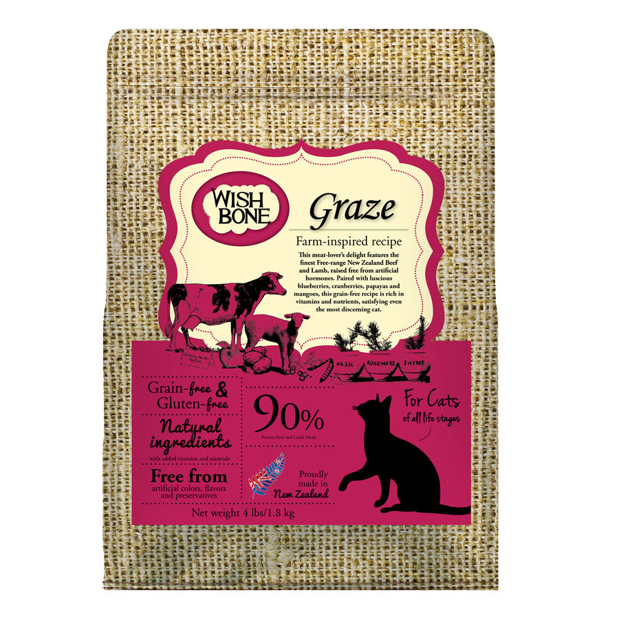 Wishbone Graze Grain Free Beef & Lamb Recipe Dry Cat Food, 4 lbs (1.8 kg) | Singpet.Com