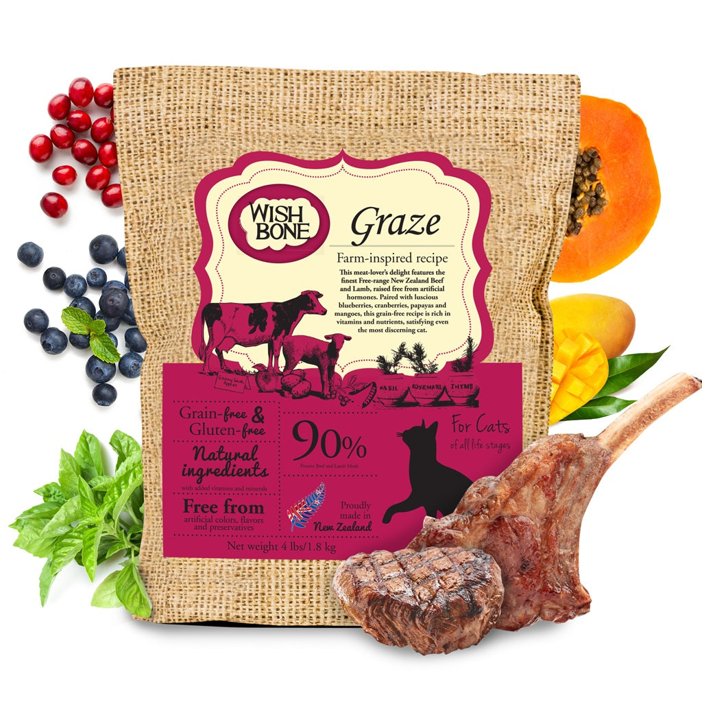Wishbone Graze Grain Free Beef & Lamb Recipe Dry Cat Food | Singpet.Com