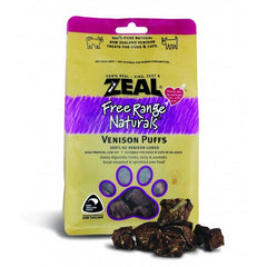 Zeal Free Range Naturals Dried Venison Puffs - Treats For Dogs & Cats, 85g|Singpet.COM