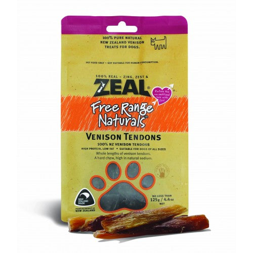 Zeal Free Range Naturals Dried Venison Tendons - Dog Treats
