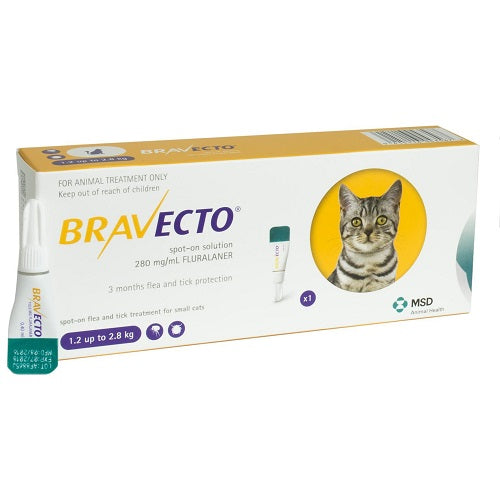 Bravecto 112.5mg Spot-On Solution For Small Cats 1.2-2.8kg (3-6lbs) | Singpet.Com