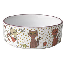 Petrageous Chic Kitty 2 Cups White Multi Shimmer Pet Feeding Bowl | Singpet.Com.Sg