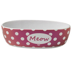 Petrageous 2 Cups Bedazzled Meow Shimmer Oval Shaped Bowls, Berry | Singpet.Com.Sg