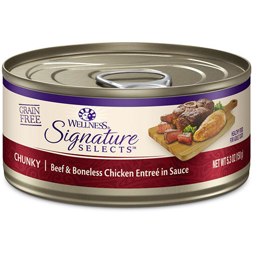 Wellness CORE Signature Selects Grain-Free Chunky Beef and Boneless Chicken Canned Cat Food | Singpet.Com
