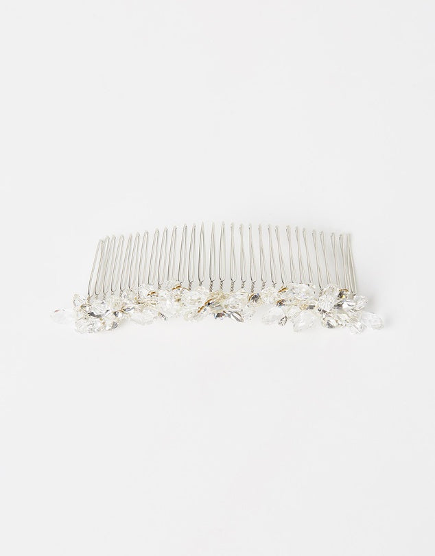 ivory knot-bridal accessories-wedding hair comb-samantha-silver