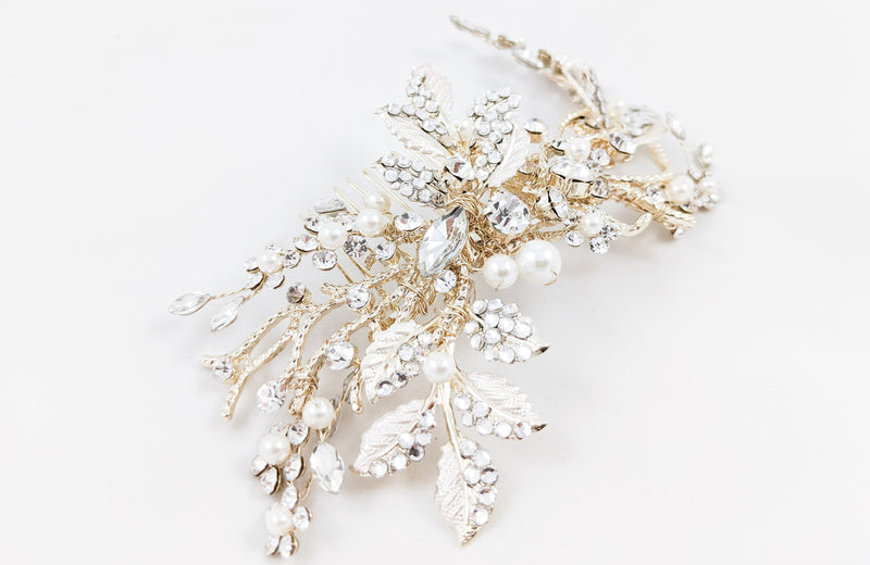 ivory knot-wedding hair accessories-bridal hair comb-serena-gold